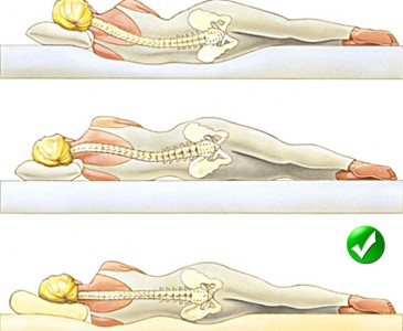 the Correct position of the spine while lying down